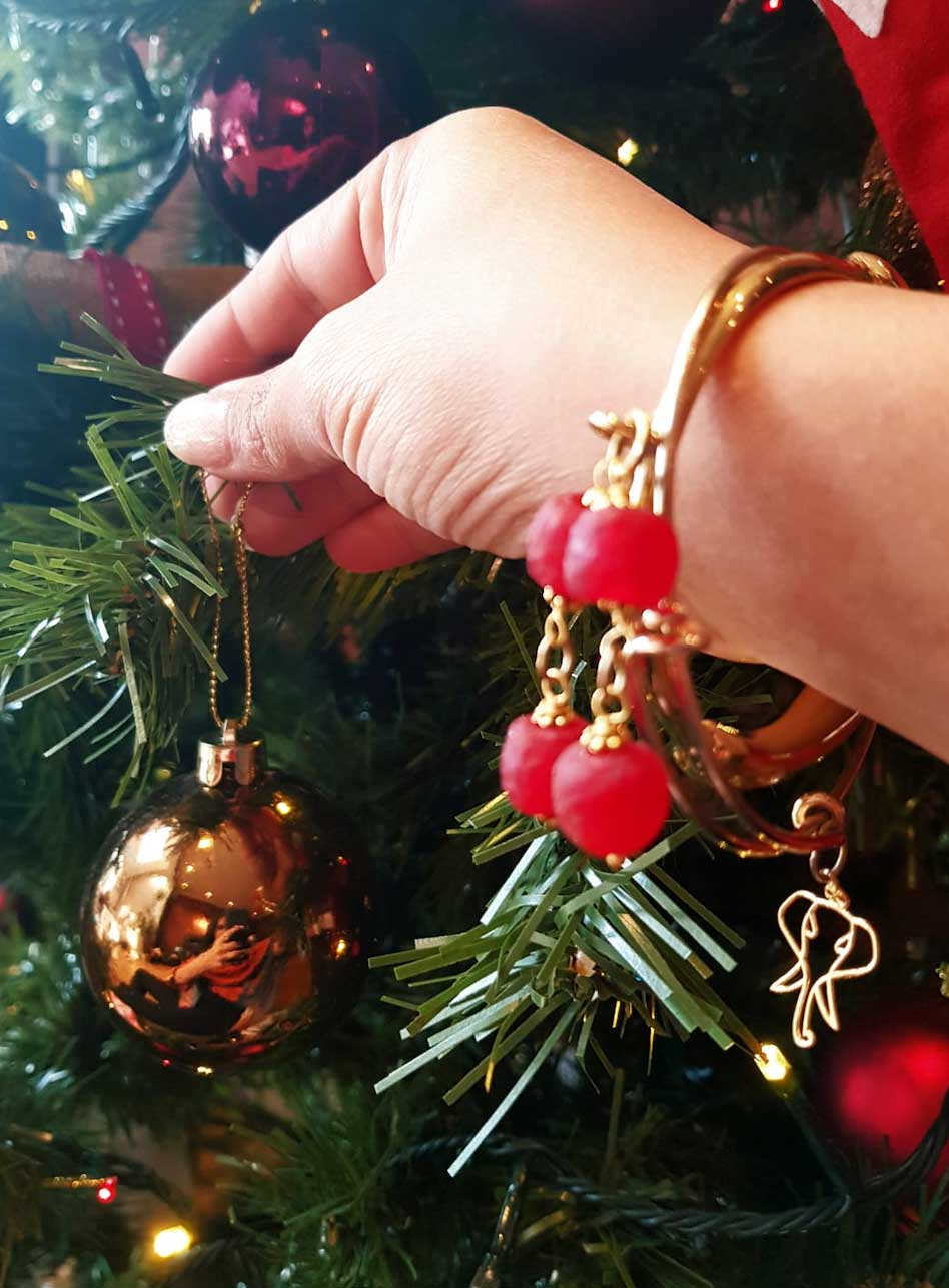 Red Aza Bangle Christmas by Shikhazuri