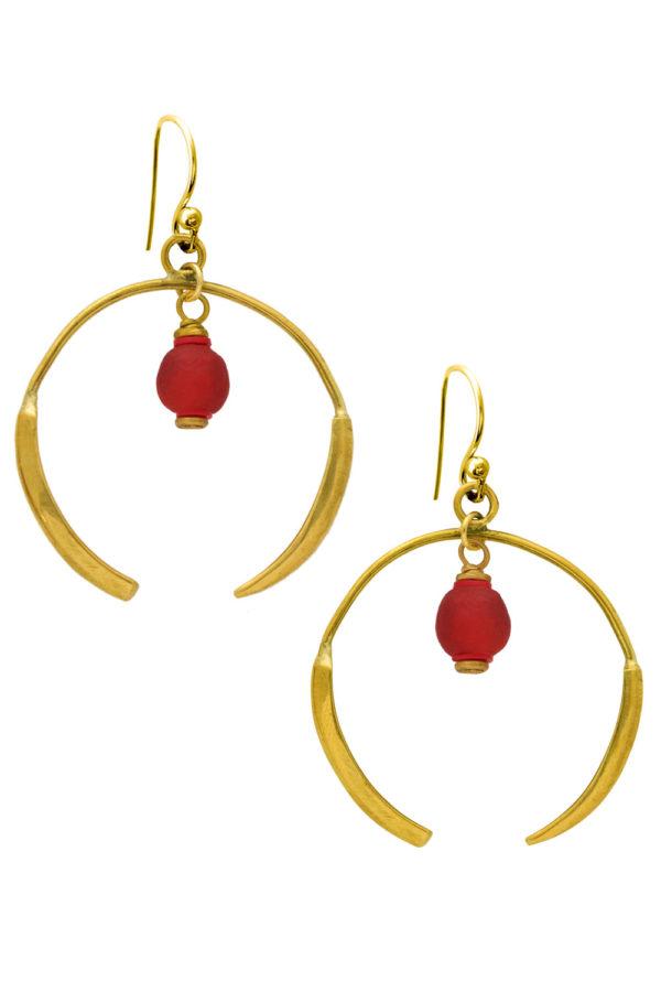 Nyekundu Red Aza Earrings by SHIKHAZURI