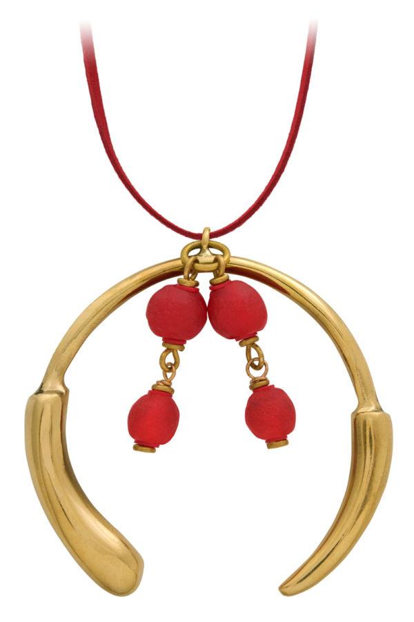 Nyekundu Red Aza Grande Necklace Suede Cord by SHIKHAZURI