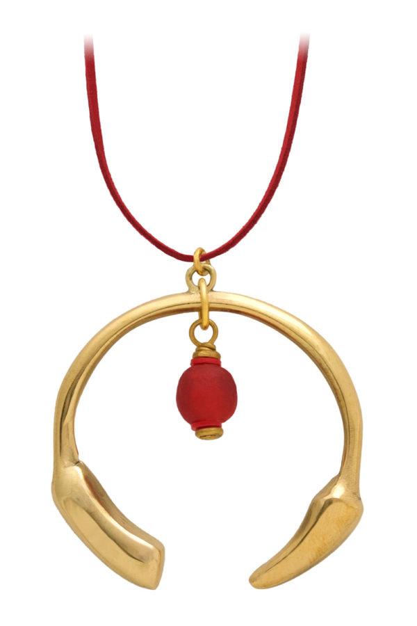 Nyekundu Red Aza Petite Necklace Suede Cord by SHIKHAZURI