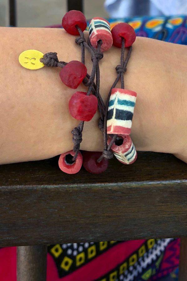 Red Bead Jiona Knot Bracelet Modelled by SHIKHAZURI