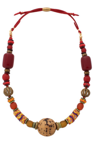Nyekundu Red Nadira Grande Necklace by SHIKHAZURI