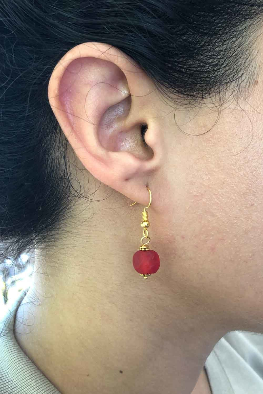 Red Jiona Earrings Modelled by SHIKHAZURI