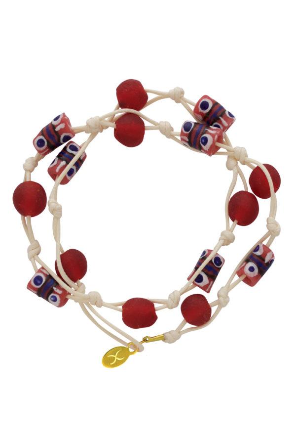 Red Jiona Ivory Wrap Bracelet by SHIKHAZURI