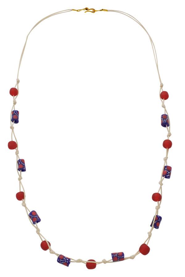 Red Jiona Ivory Knot Necklace by SHIKHAZURI