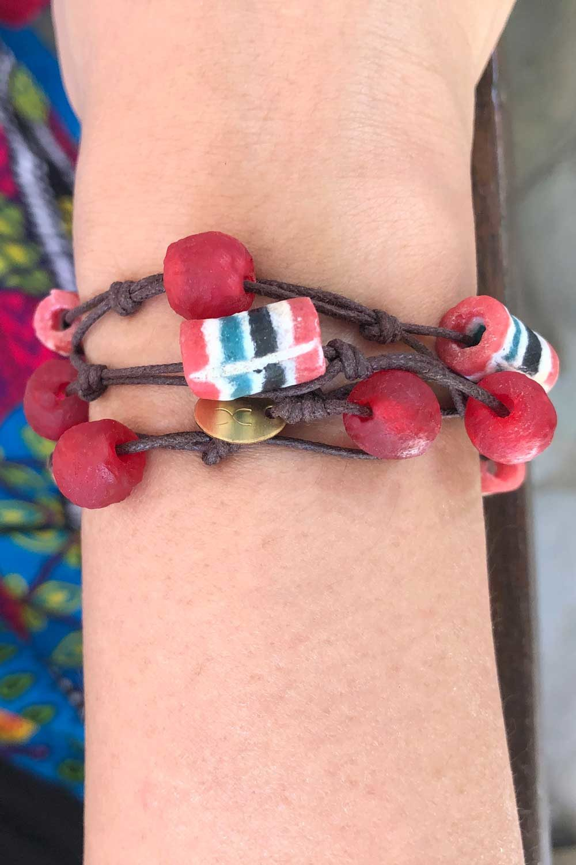 Red Jiona Knot Bracelet Brown Cord by SHIKHAZURI Model