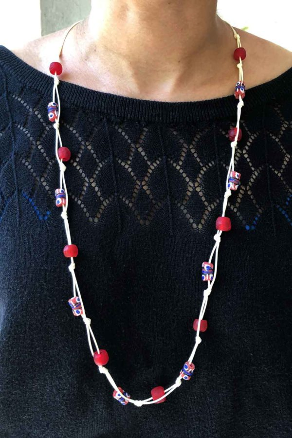 Red Jiona Knot Necklace Ivory Cord by SHIKHAZURI Modelled