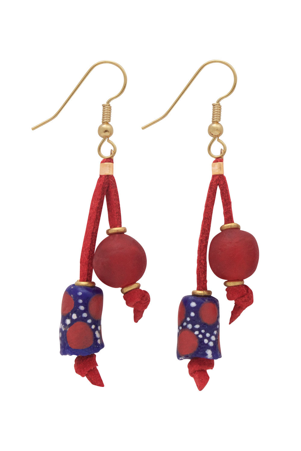Red Nadira Double Drop Earrings by SHIKHAZURI