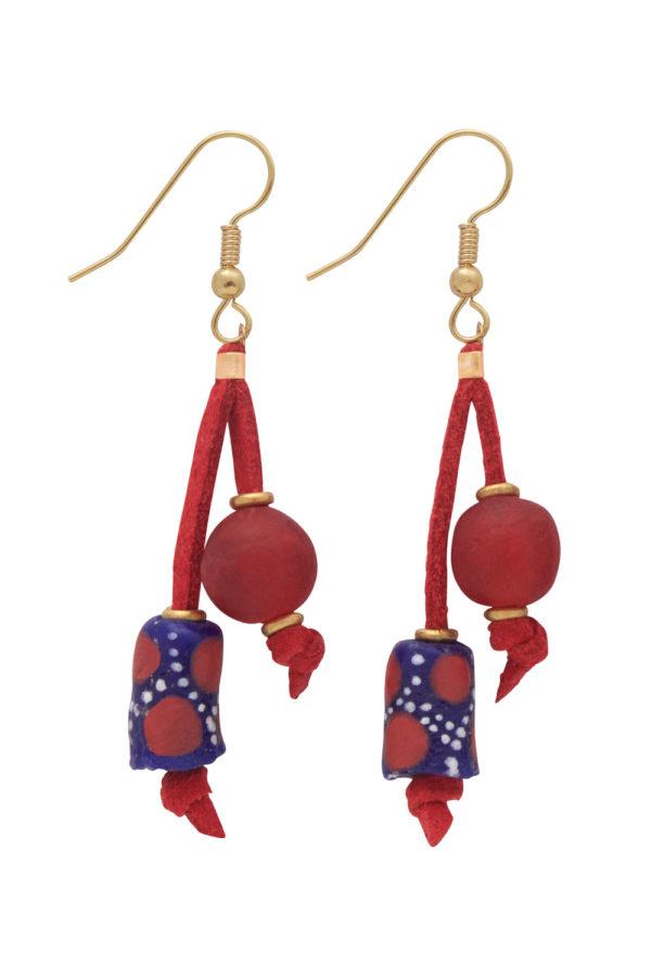 Red Nadira Double Drop Earrings by SHIKHAZURI