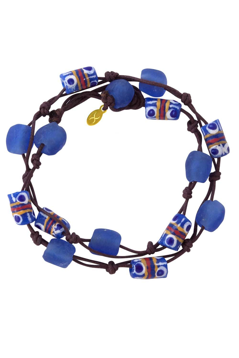 Blue Jiona Brown Wrap Bracelet by SHIKHAZURI