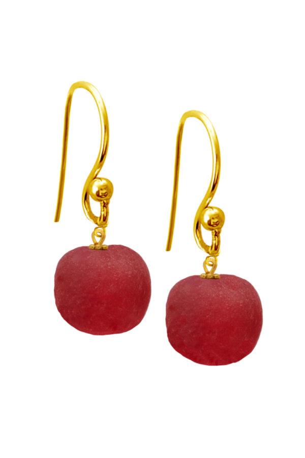 Red Jiona Simple Earrings by SHIKHAZURI