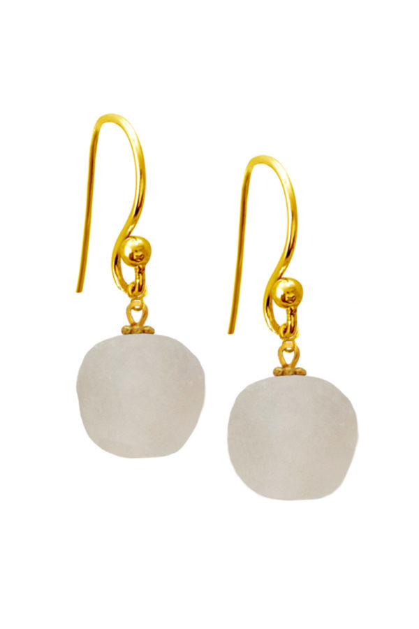 White Jiona Simple Earrings by SHIKHAZURI