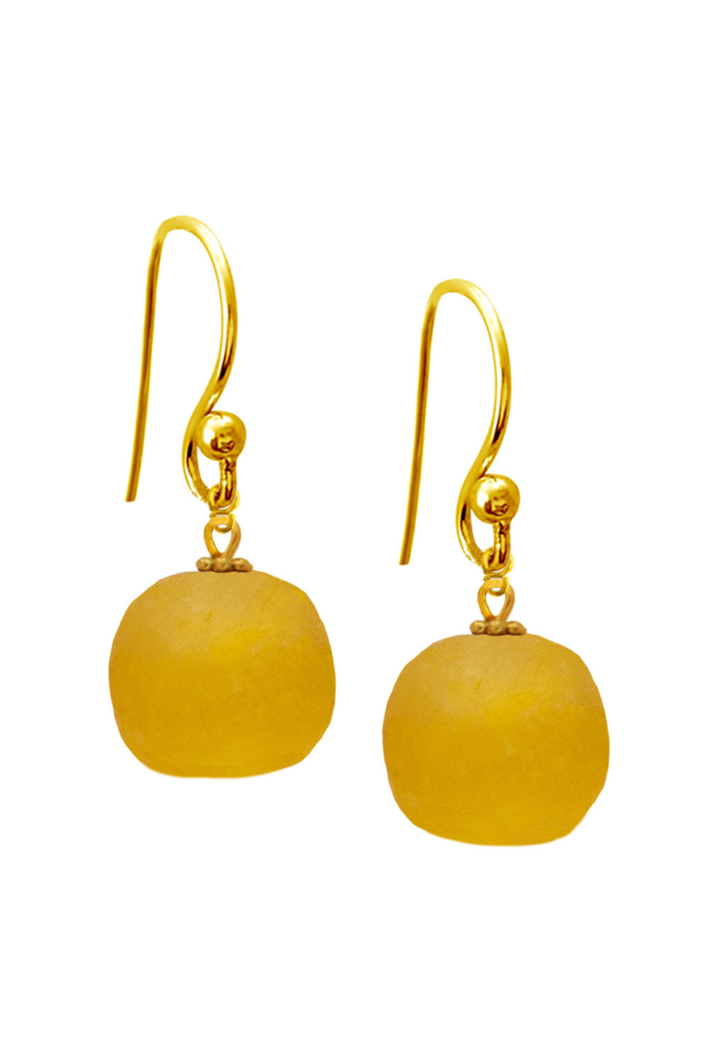 Yellow Jiona Simple Earrings by SHIKHAZURI