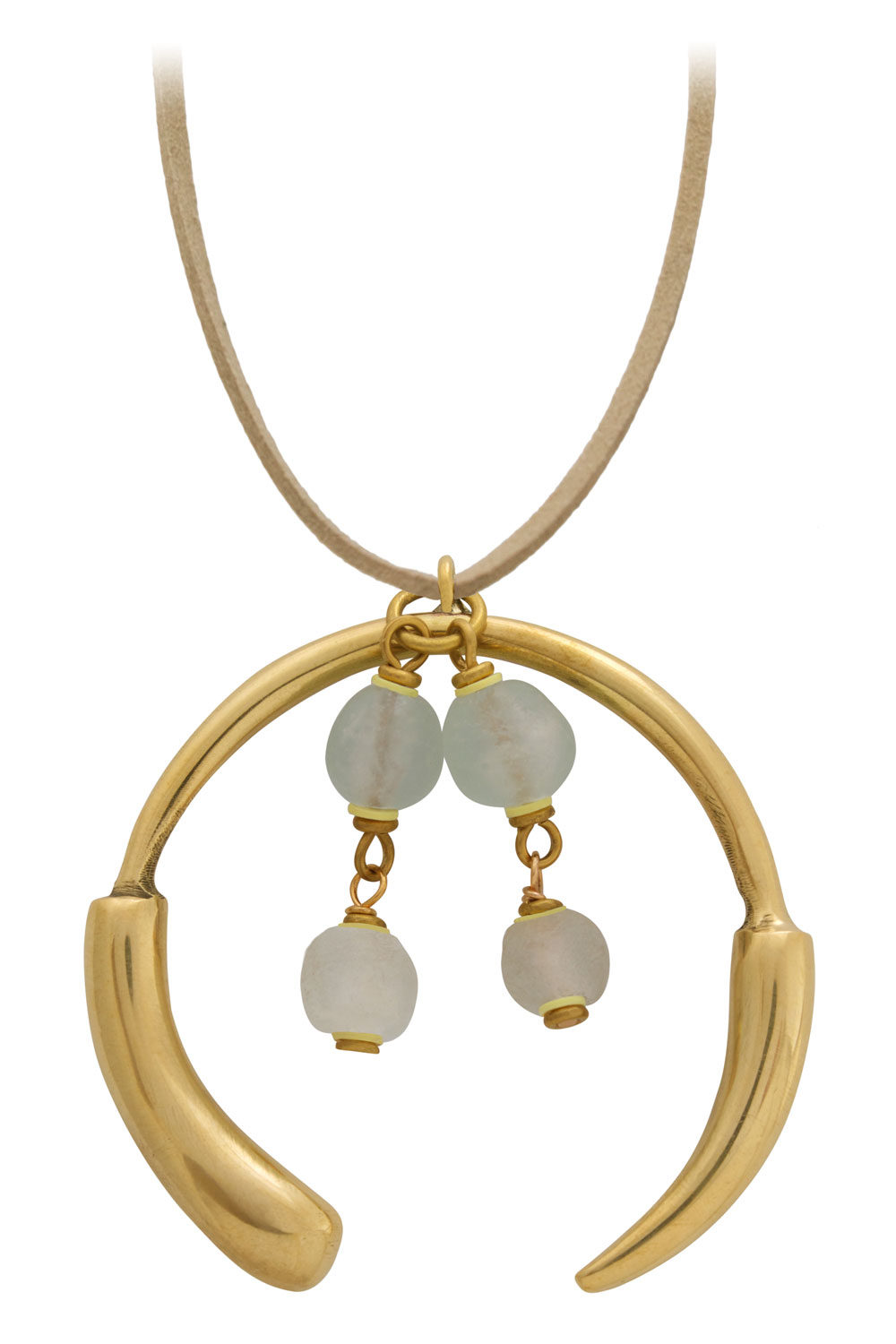 Nyeupe White Grande Necklace Suede Cord by SHIKHAZURI