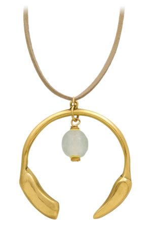 Nyeupe White Aza Petite Necklace Suede Cord by SHIKHAZURI