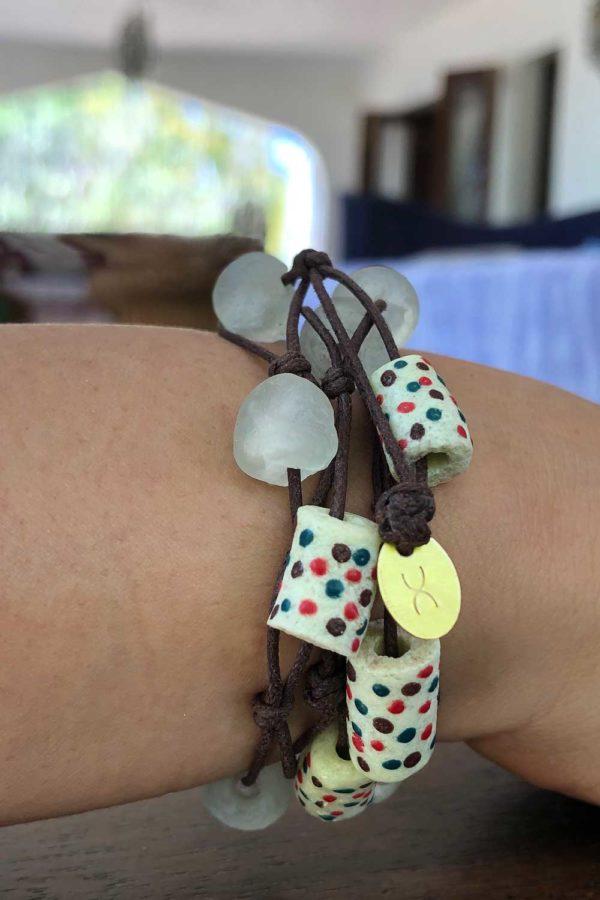 White Jiona Bracelet Brown Cord Model by SHIKHAZURI
