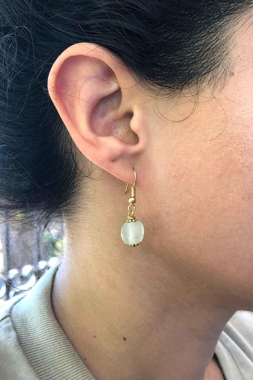 White Jiona Earrings Modelled by SHIKHAZURI