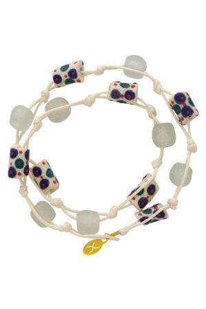 White Jiona Ivory Wrap Bracelet by SHIKHAZURI