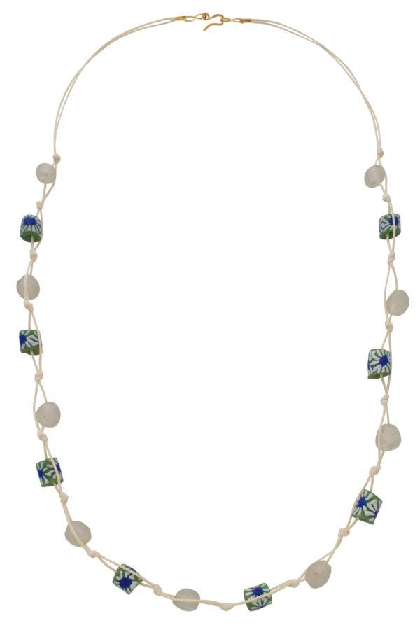 White Jiona Ivory Knot Necklace by SHIKHAZURI