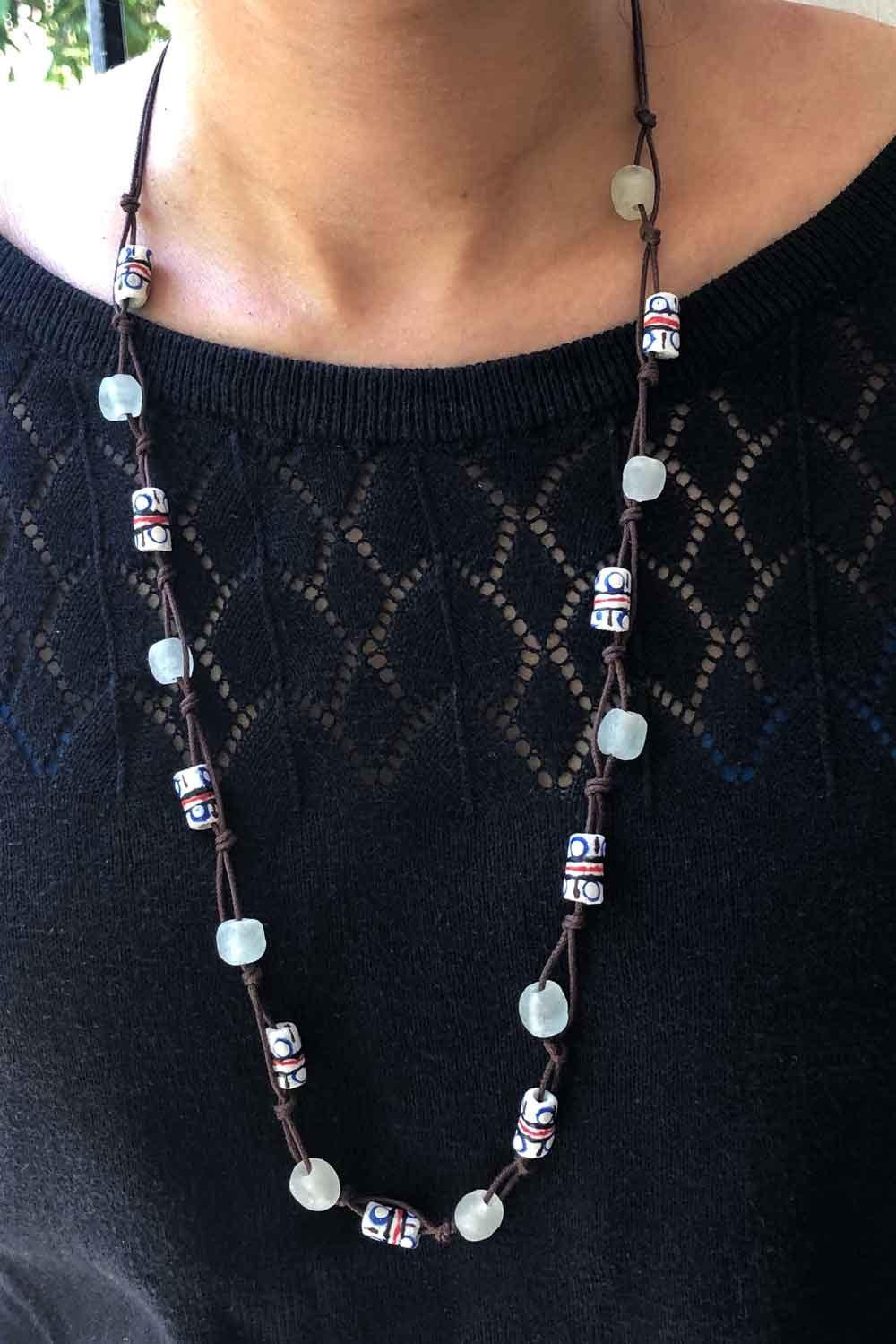 White Jiona Necklace Brown Cord by SHIKHAZURI Modelled
