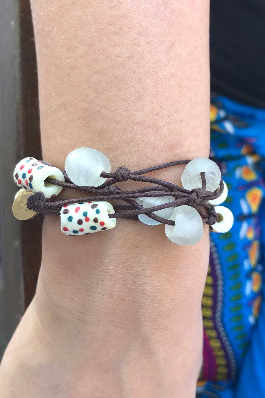 White Knot Bracelet Brown Cord by SHIKHAZURI Modelled