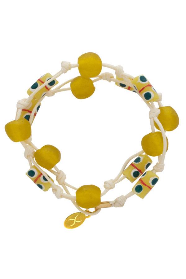 Yellow Jiona Ivory Wrap Bracelet by SHIKHAZURI