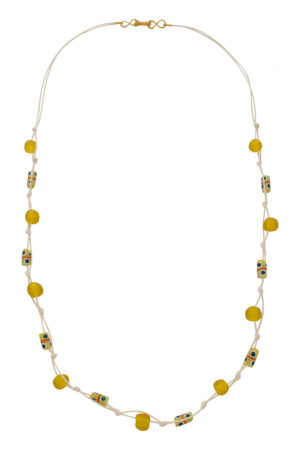 Yellow Jiona Ivory Knot Necklace by SHIKHAZURI