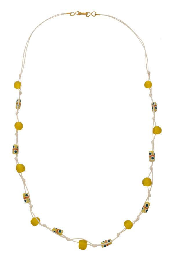 Yellow Jiona Ivory Knot Necklace by SHIKHAZURI