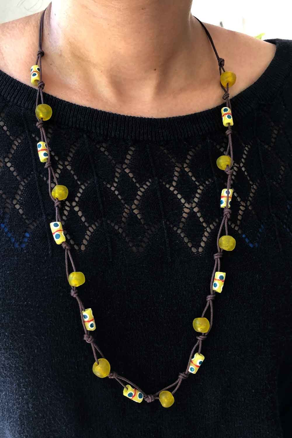 Yellow Jiona Knot Necklace Brown Cord SHIKHAZURI Modelled