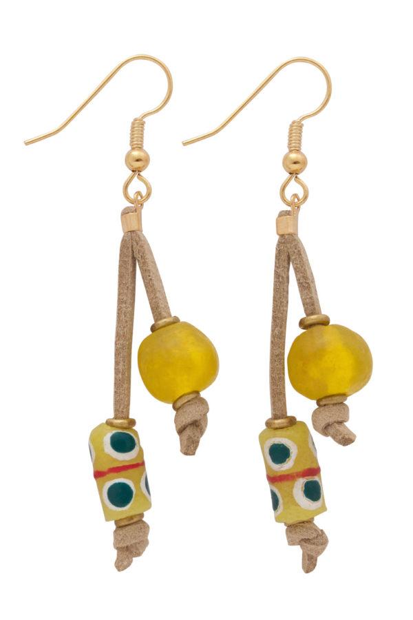 Yellow Nadira Double Drop Earrings by SHIKHAZURI
