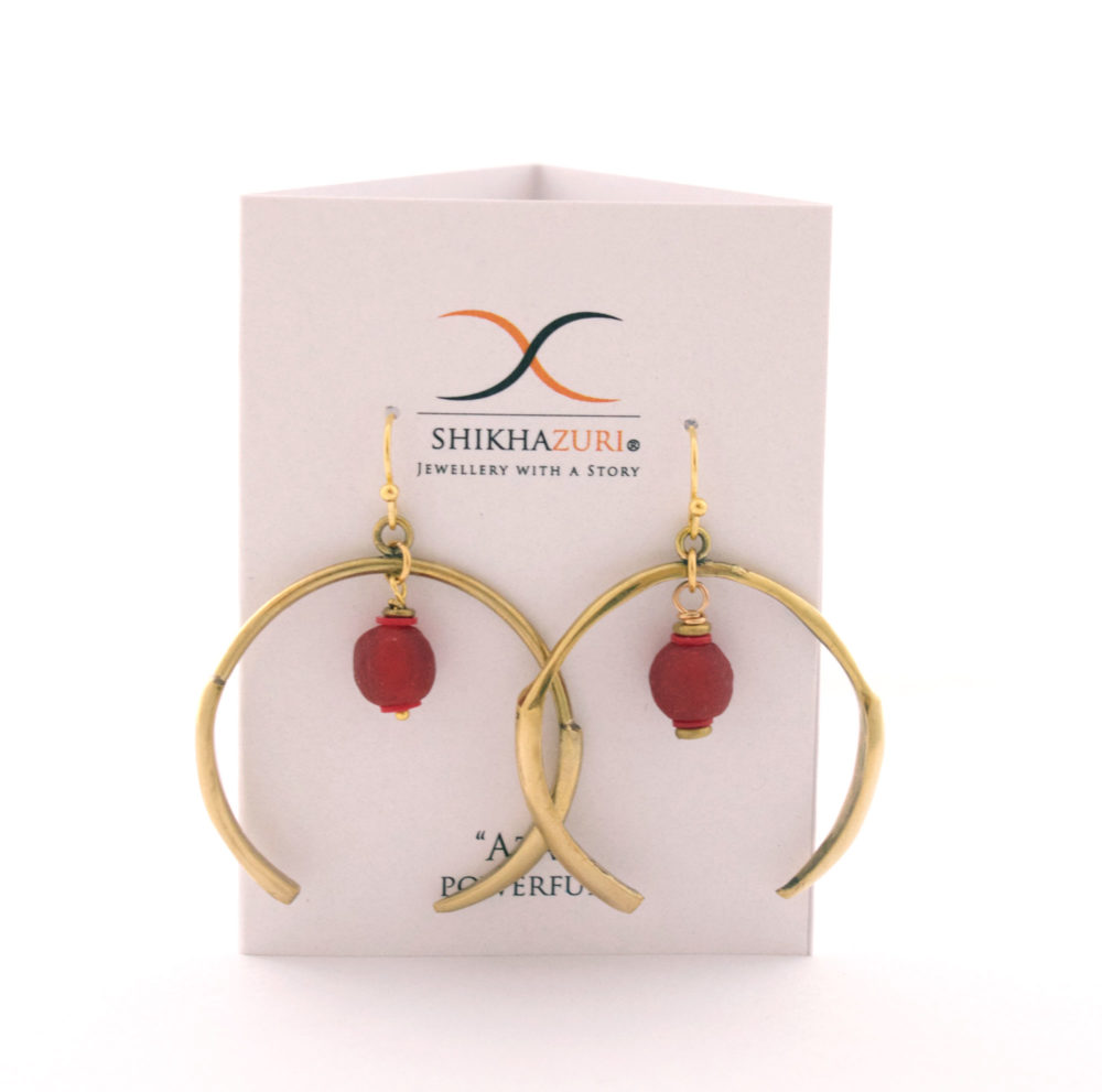 Red Aza Earrings Carded by SHIKHAZURI