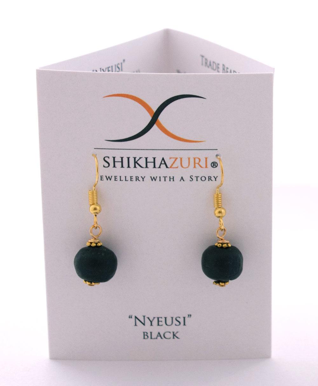 Black Jiona Earrings Carded by SHIKHAZURI