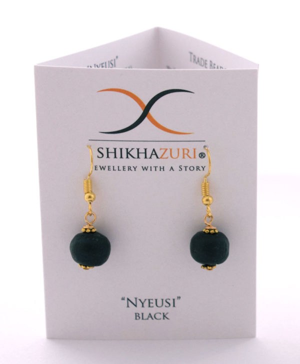 Black Jiona Earrings Carded by SHIKHAZURI