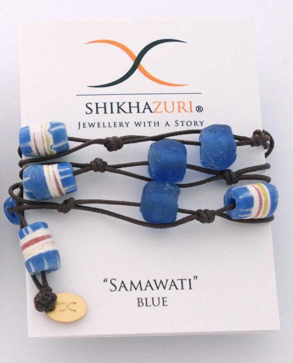 Blue Jiona Wrap Bracelet by SHIKHAZURI