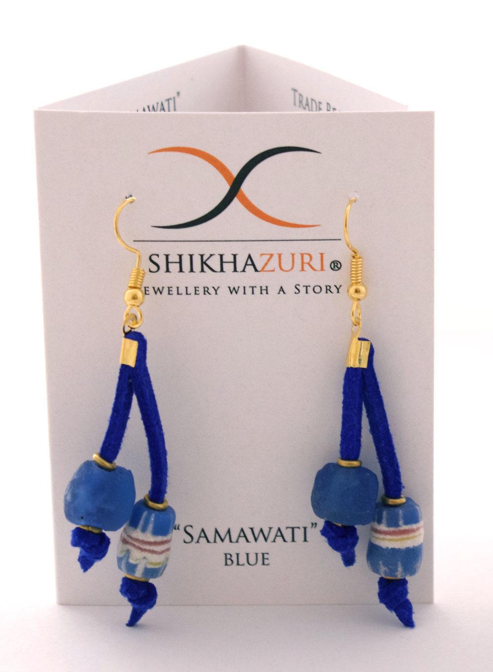 Blue Nadira Earrings Carded by SHIKHAZURI
