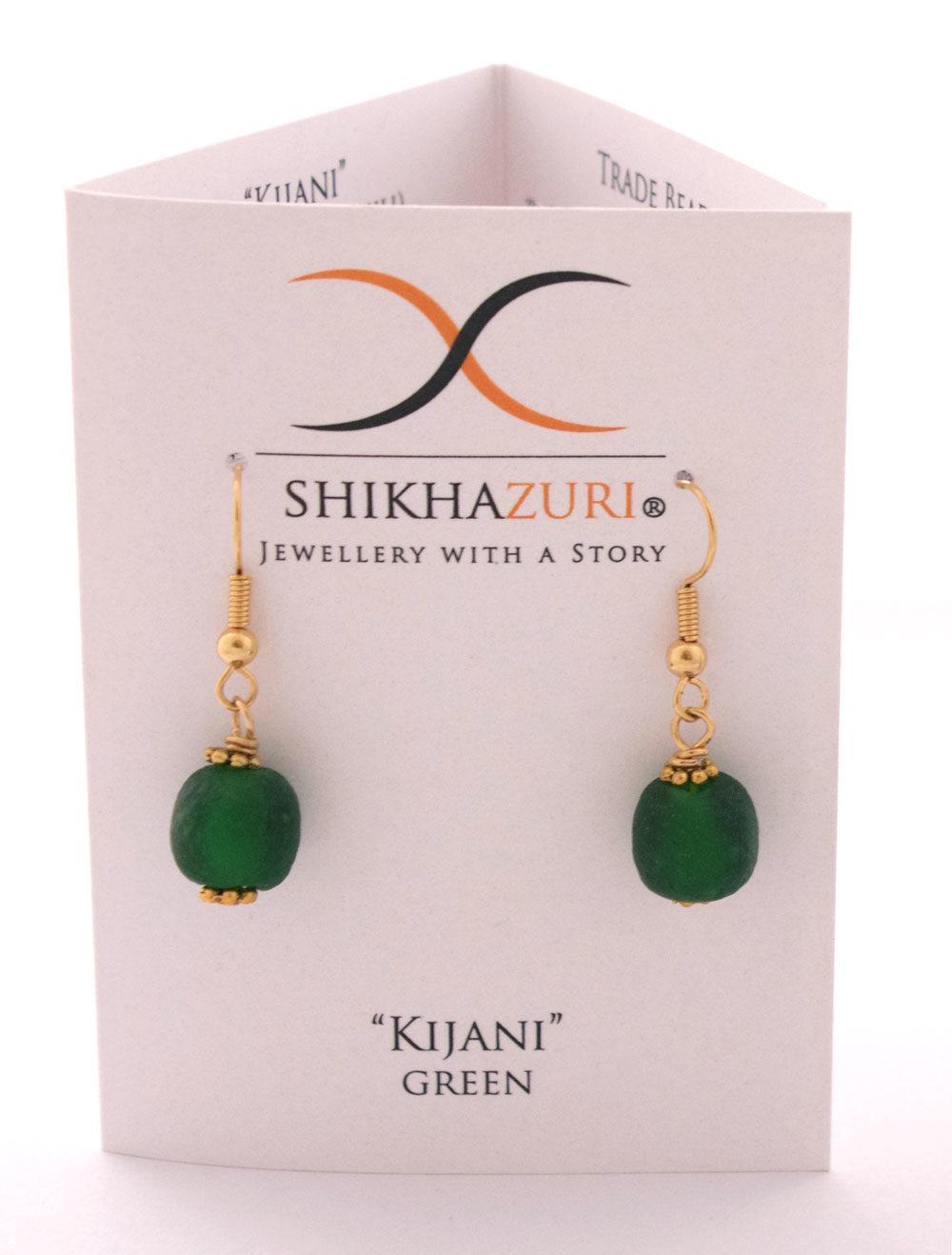 Green Jiona Earrings Carded by SHIKHAZURI