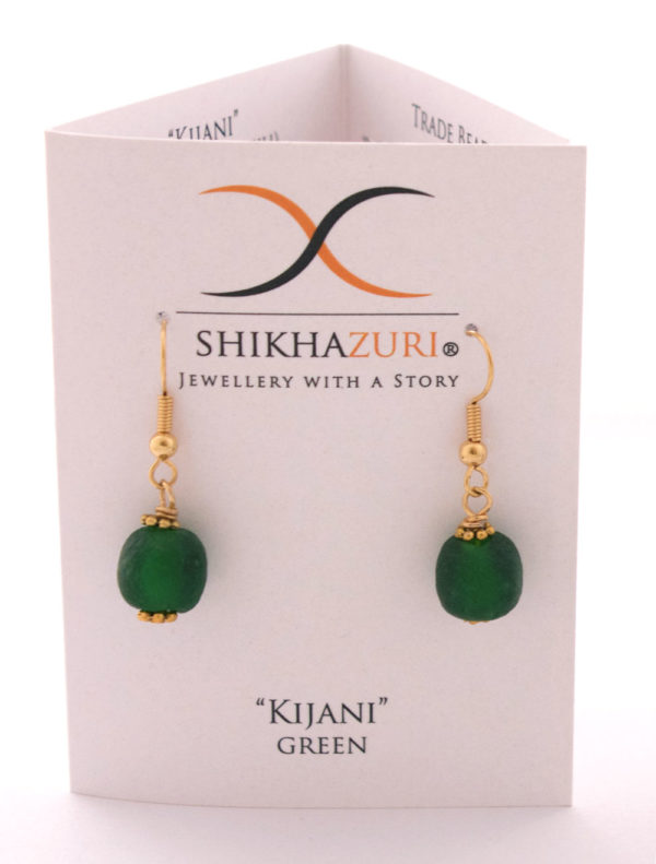 Green Jiona Earrings Carded by SHIKHAZURI