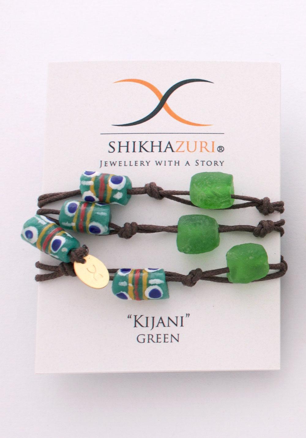 Green Jiona Wrap Bracelet Chokers Carded by SHIKHAZURI