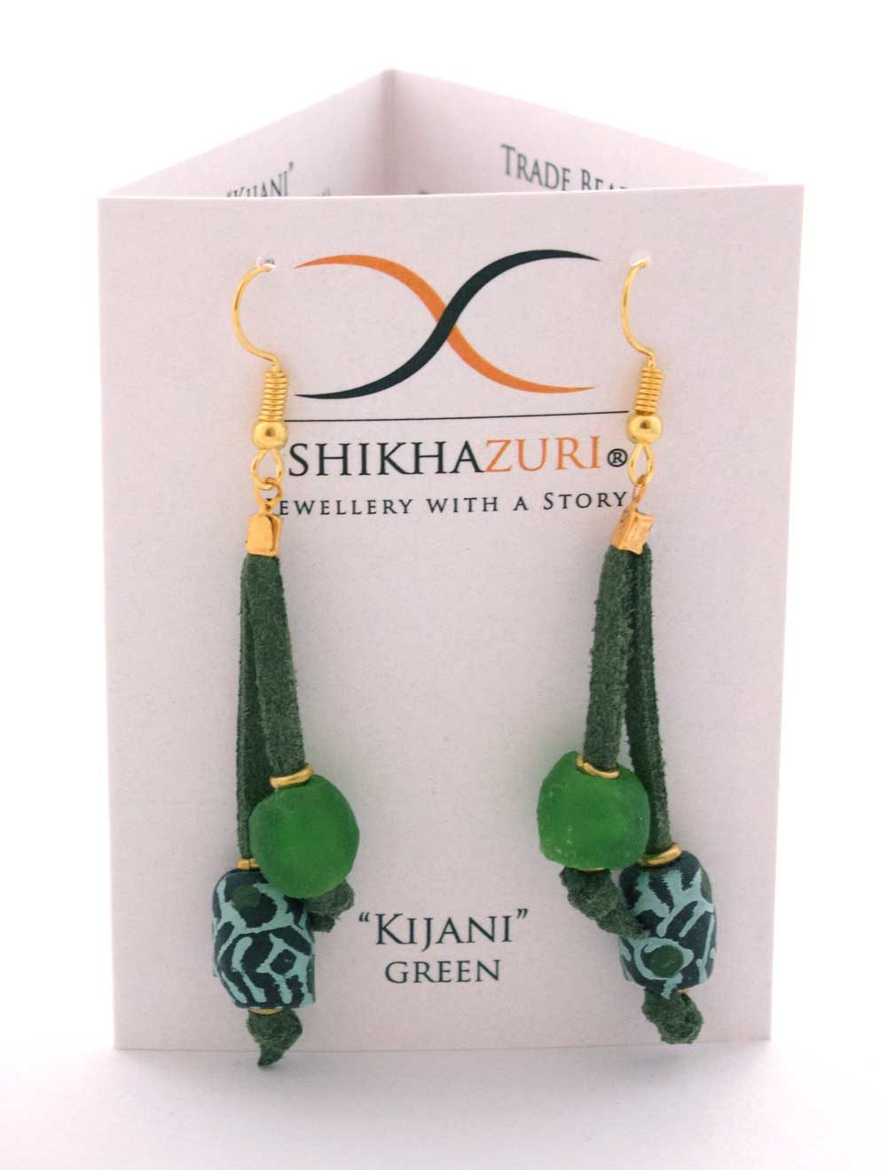 Green Nadira Earrings Carded by SHIKHAZURI