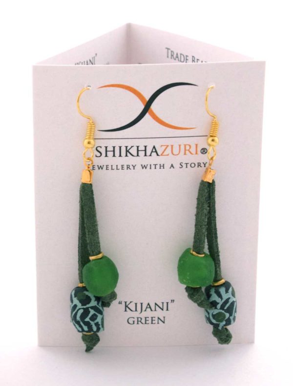 Green Nadira Earrings Carded by SHIKHAZURI