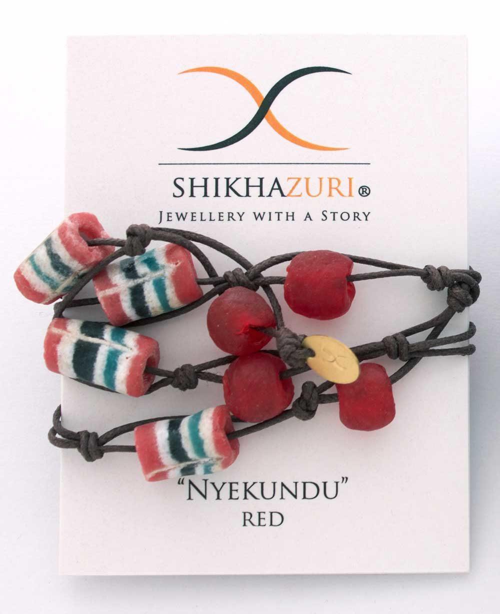 Red Jiona Wrap Bracelet by SHIKHAZURI