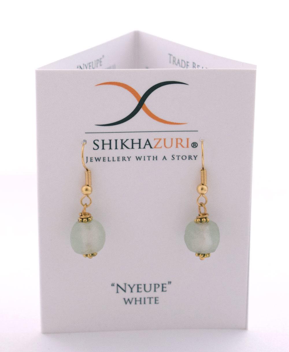 White Jiona Earrings Carded by SHIKHAZURI