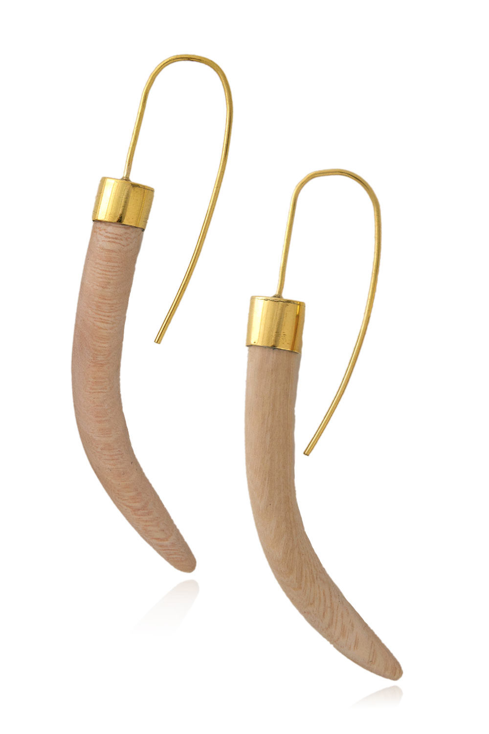 Wood Tusk Threader Earrings by SHIKHAZURI