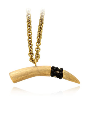 Plush Tusk Necklace Black Beads by SHIKHAZURI