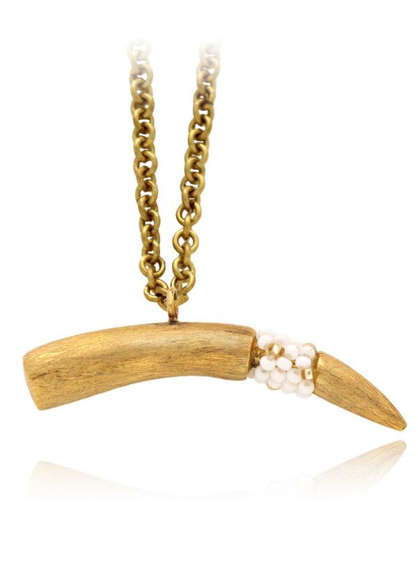 Plush Tusk Necklace White Beads by SHIKHAZURI