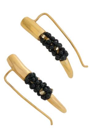 Tusk Ear Climbers Black Beads by SHIKHAZURI