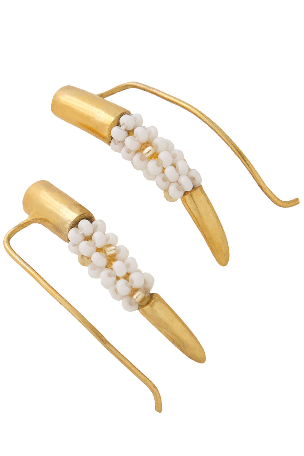 Tusk Ear Climbers White Beads by SHIKHAZURI