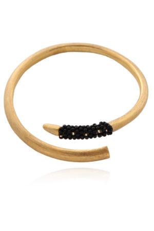 Vogue Tusk Bangle Black Beads by SHIKHAZURI