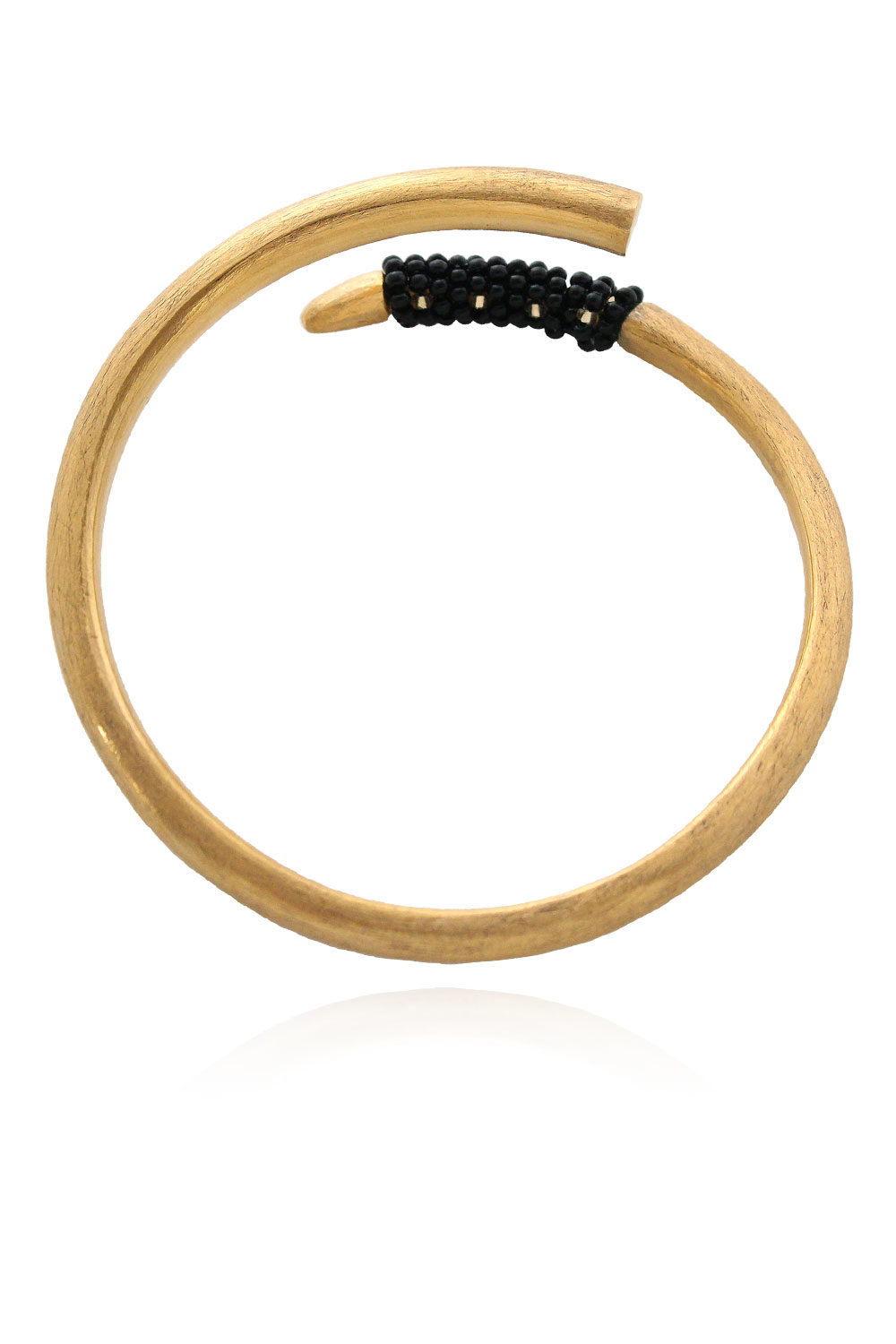 Vogue Tusk Bangle Black Beads Tembo by SHIKHAZURI