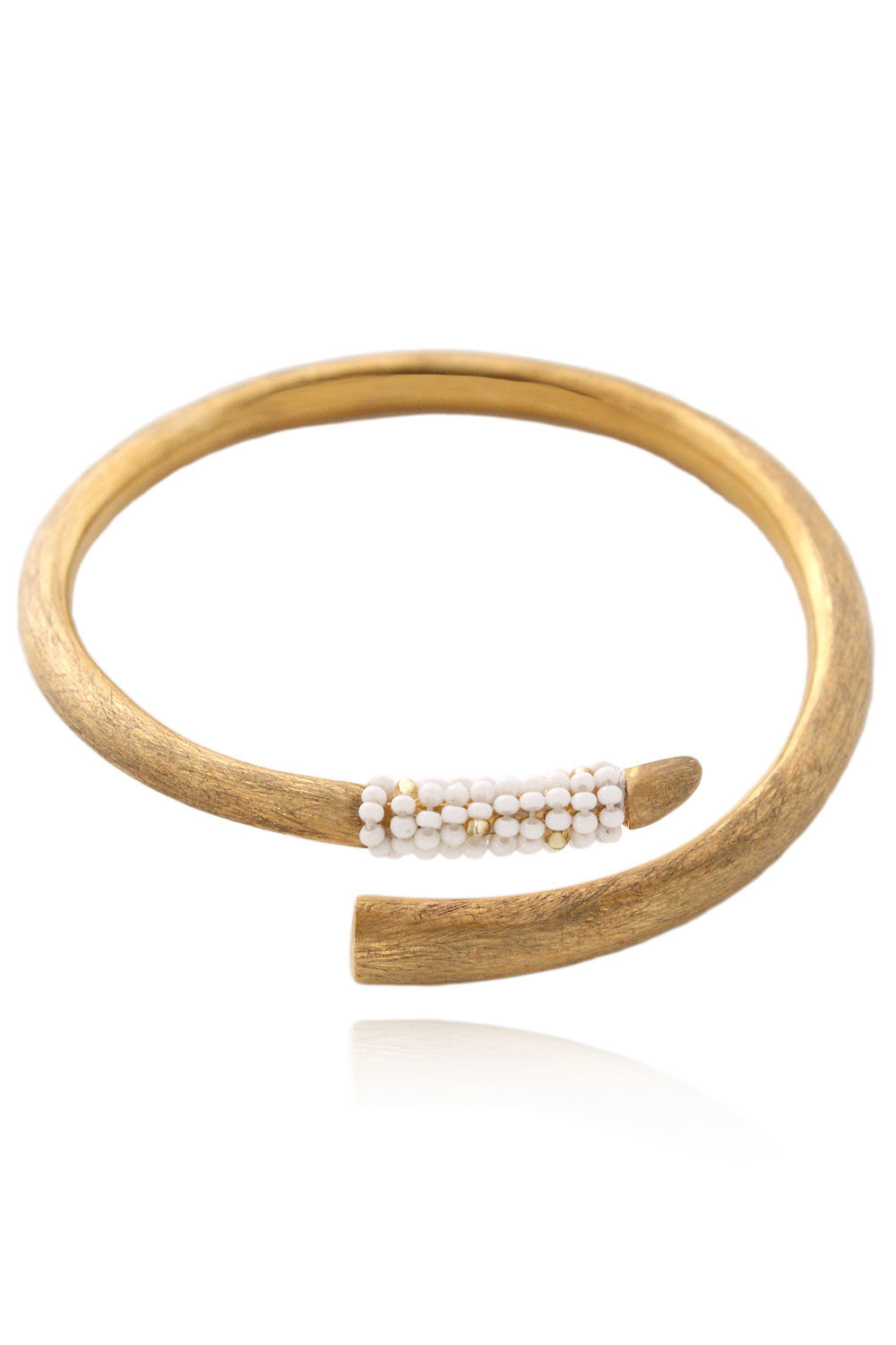 Vogue Tusk Bangle White Beaded Tembo by SHIKHAZURI